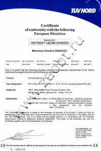 Международный сертификат соответствия на пиролизную установку УТД-2-800