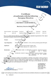 TDP-2-2000 nternational certificate of compliance with Directive 2006/42/EC on the safety of machinery and equipment
